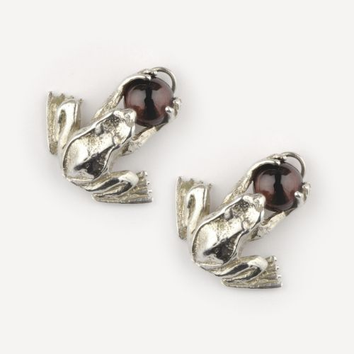 Frogs Holding Garnet - Earrings: click to enlarge